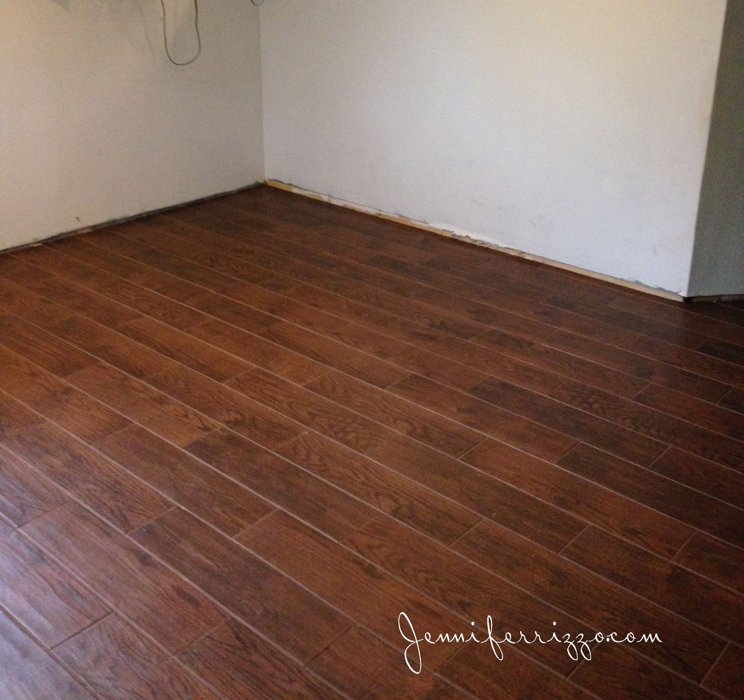 home depot hardwood floor installation cost of our wood look ceramic tile is finally installed crafts pinterest with regard to installation of our wood look ceramic tile from home depot in our basement living room and white ceramic mosaic tile with gray grout in our laundry room