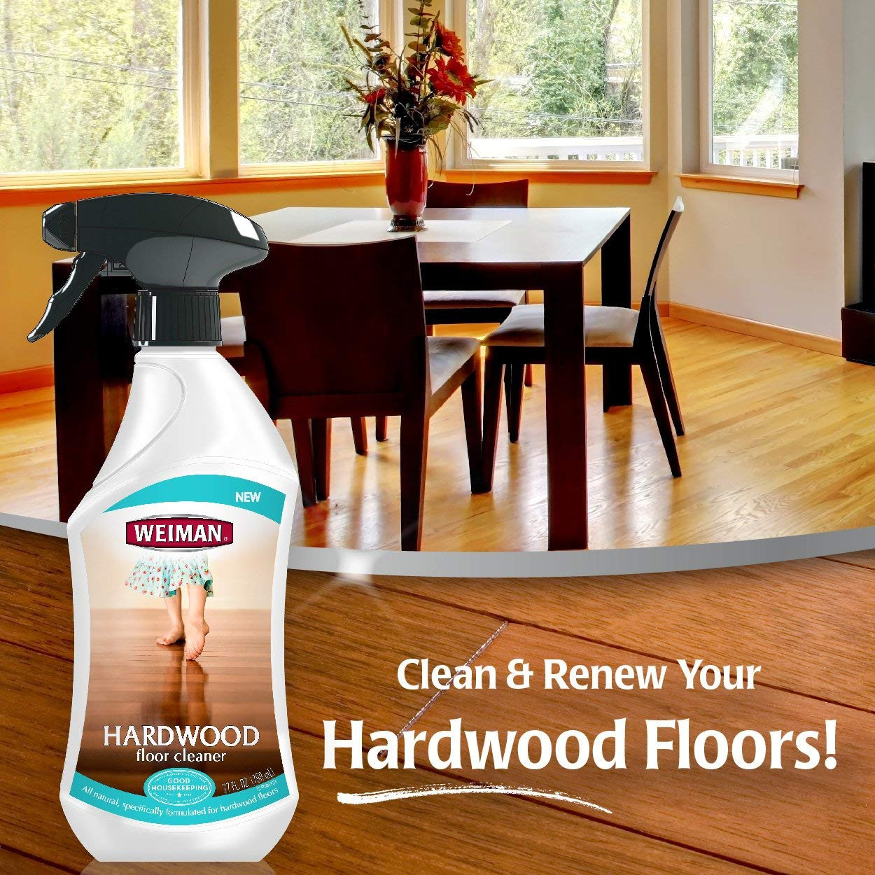 hoover hardwood floor cleaner of amazon com weiman hardwood floor cleaner surface safe no harsh with amazon com weiman hardwood floor cleaner surface safe no harsh scent safe for use around kids and pets residue free 27 oz trigger home kitchen