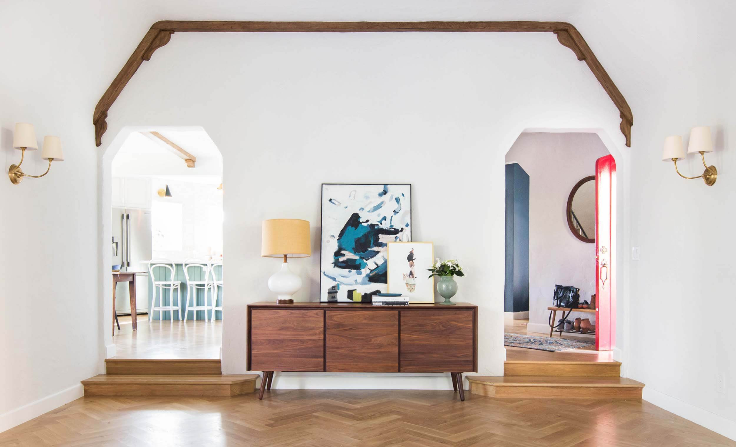 how much does it cost to refinish hardwood floors myself of how we refinished our wood beams emily henderson with regard to emily henderson home livingroom design wood naturally refinished beams 11