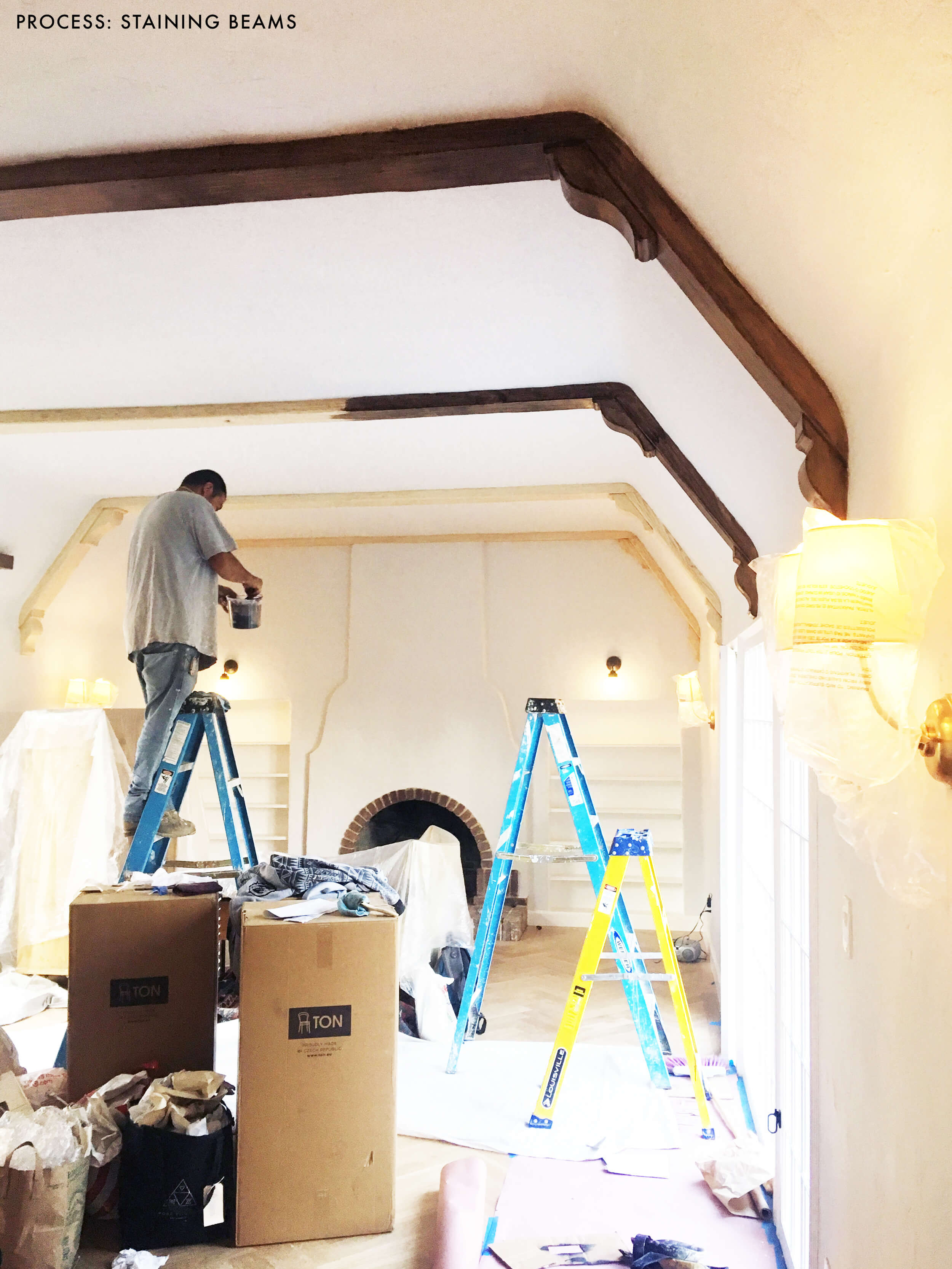 how much does it cost to refinish hardwood floors myself of how we refinished our wood beams emily henderson with regard to emily henderson living room wood naturally refinishing beams process beams stained