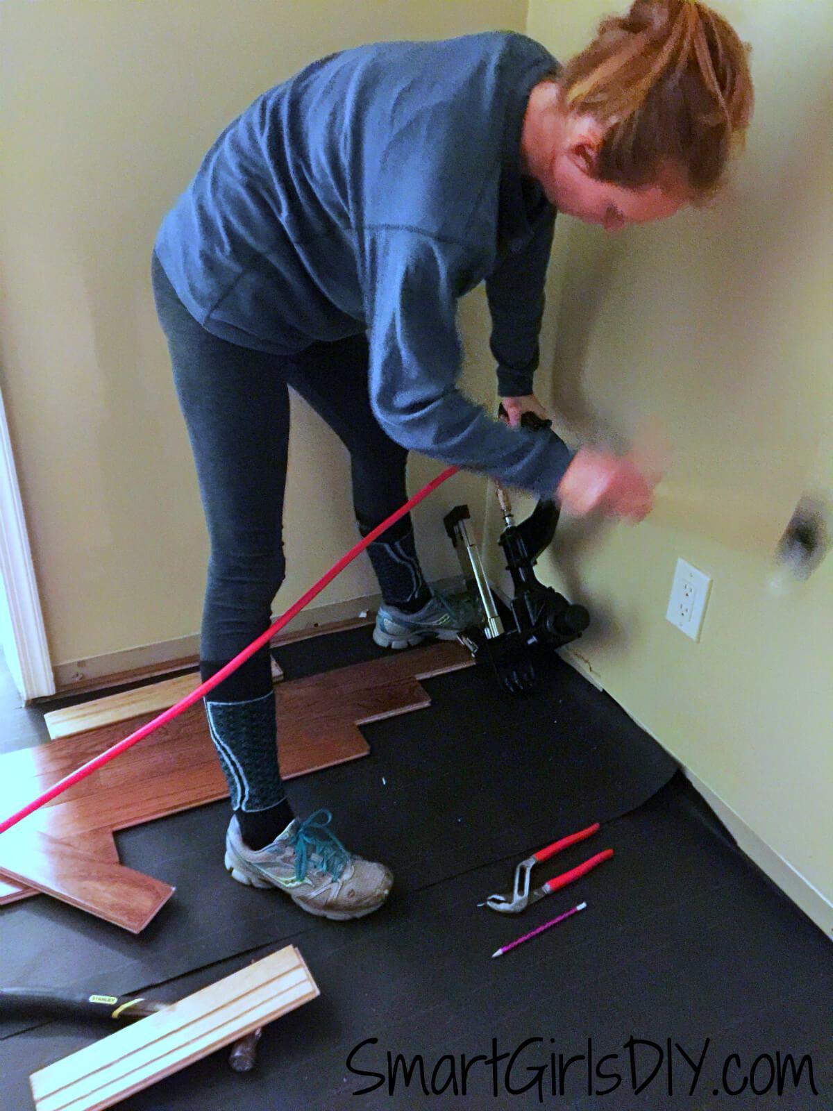 how to install 3 4 hardwood flooring on concrete of upstairs hallway 1 installing hardwood floors regarding installing bruce hardwood floor diy