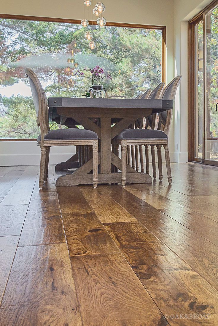 How to Install Fake Hardwood Floors Of Custom Hand Scraped Hickory Floor In Cupertino Hickory Wide Plank with Wide Plank Hand Scraped Hickory Hardwood Floor by Oak and Broad Detail Of Heavy Farm