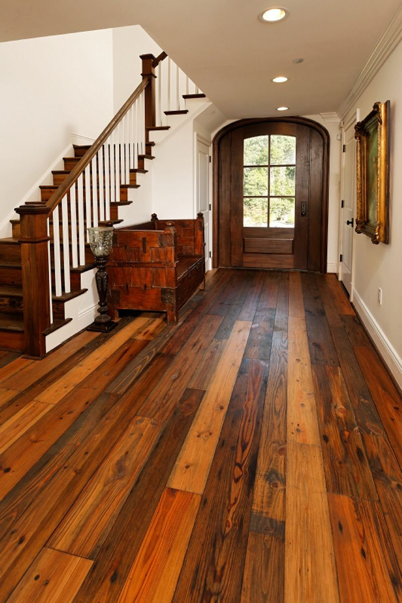 How to Install Floating Hardwood Floors Of Image Detail for Character Of these Wide Plank Reclaimed Floors Intended for Wide Plank Barn Wood Flooring Authentic Pine Floors Reclaimed Wood Compliments Any Design Style