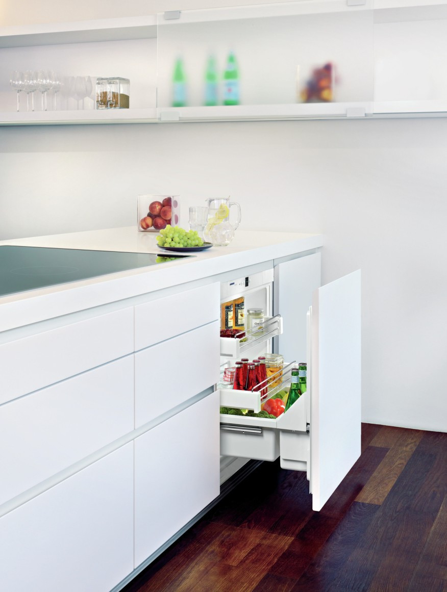 how to install hardwood flooring under toe kick of 9 space saving products for small units multifamily executive throughout the upr 503 undercounter pull out refrigerator from liebherr packs a lot of fridge space into a small footprint when kitchen space is tight