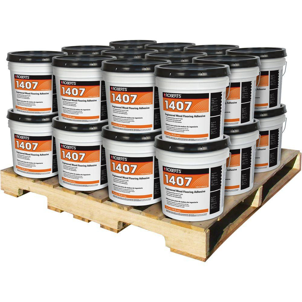How to Install Hardwood Floors On Concrete without Glue Of Roberts 4 Gal Engineered Wood Flooring Glue Adhesive 24 Pail for Engineered Wood Flooring Glue Adhesive 24 Pail Pallet