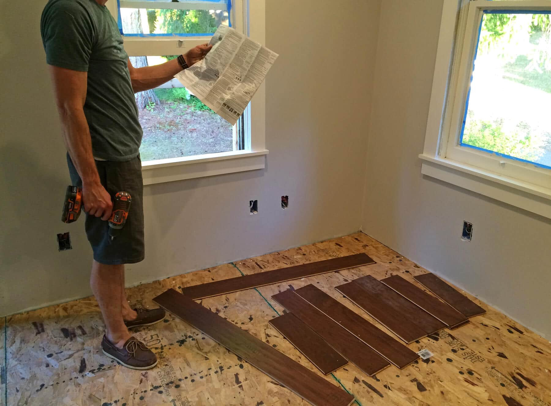 how to install quarter round on hardwood floors of the micro dwelling project part 5 flooring the daring gourmet intended for the first step was to install the first row of flooring along the longest wall its crucial to get the first row even and straight because the rest of the