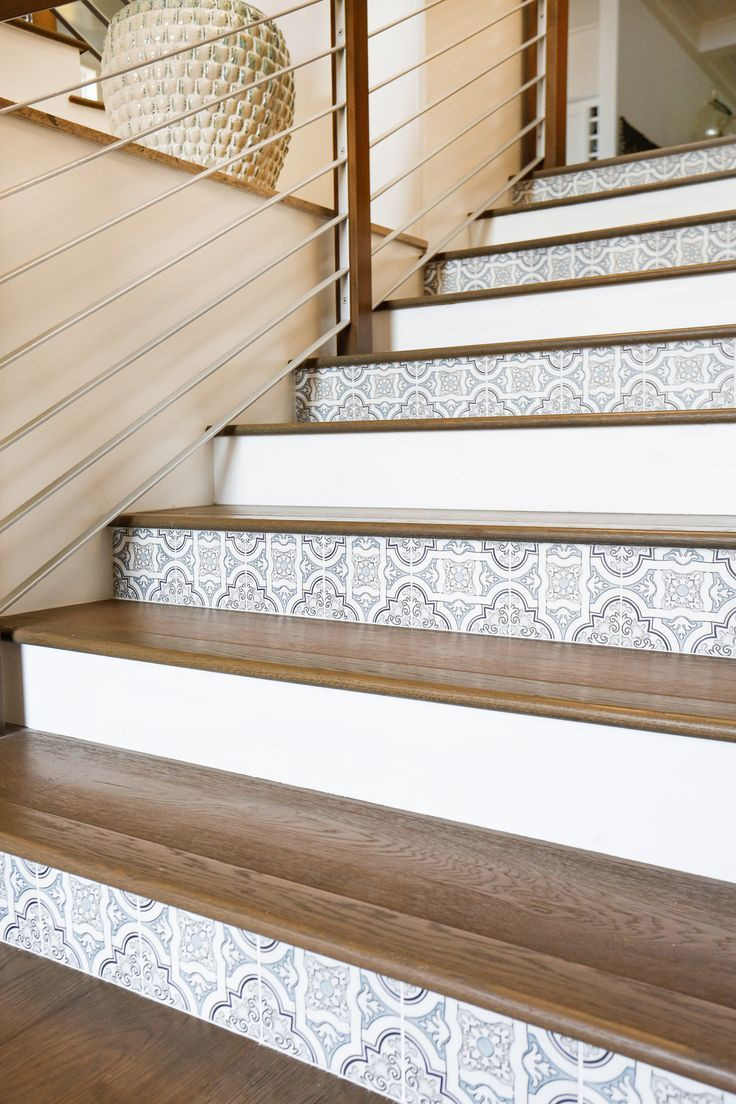 how to lay hardwood floor on stairs of 30 best stair railings images on pinterest banisters hand railing within alternating tile on stair risers with wood treads really nice effect