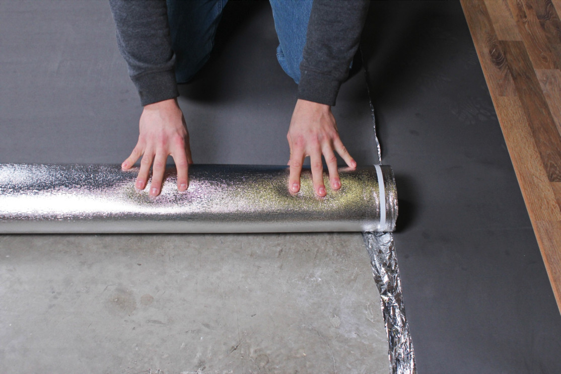 how to put down hardwood floor on concrete of how to install vapor 3 in 1 silver underlayment with regard to 9 start a new row