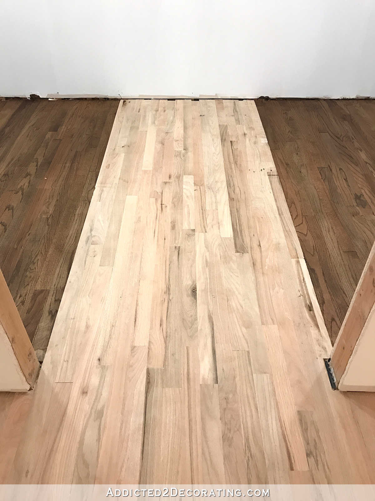 how to refinish hardwood floors that have been painted of adventures in staining my red oak hardwood floors products process intended for staining red oak hardwood floors 11 stain on left and right sides of the