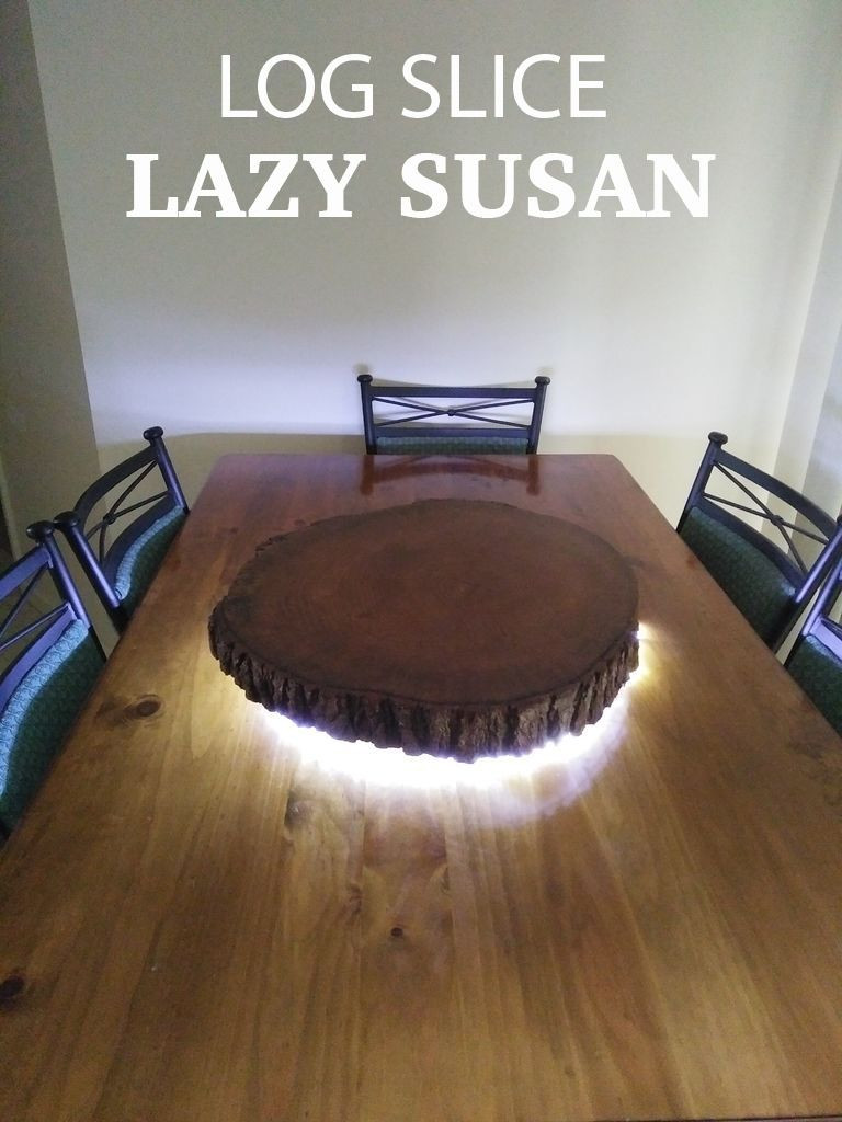 how to use a hardwood floor edger of rustic live edge log slice lazy susan with led lighting diy home with make a creative lazy susan for your dining room table