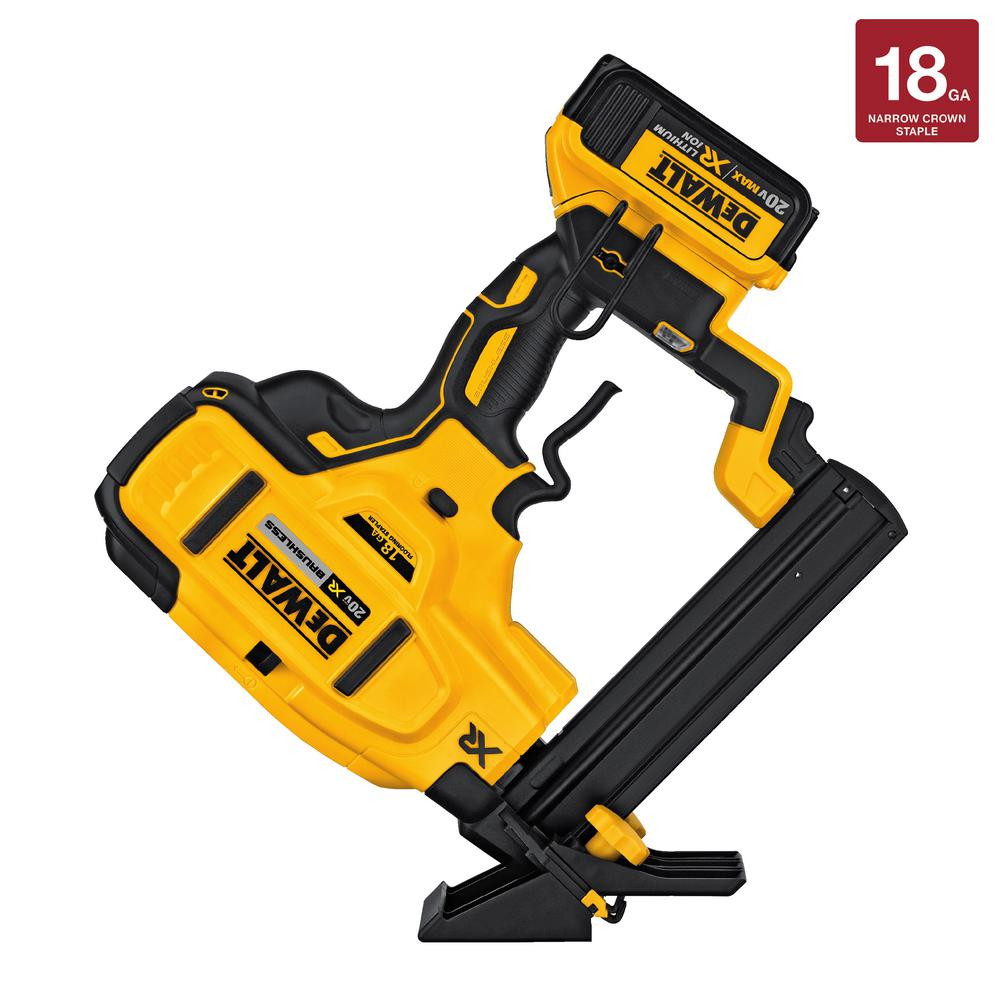 husky hardwood floor cleat nailer of dewalt floor nailers wood laminate vinyl tools the home depot for 20 volt max xr lithium ion cordless 18 gauge flooring stapler with battery