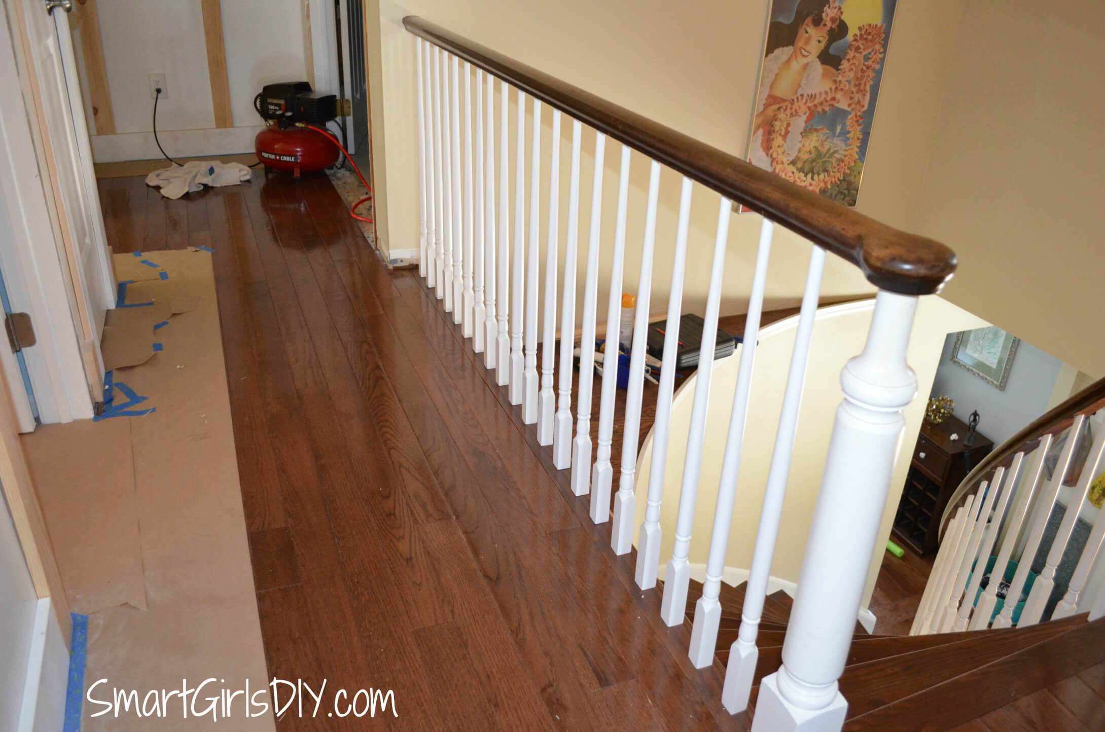install hardwood flooring around banister of upstairs hallway 1 installing hardwood floors inside upstairs hallway 2 hardwood spindles