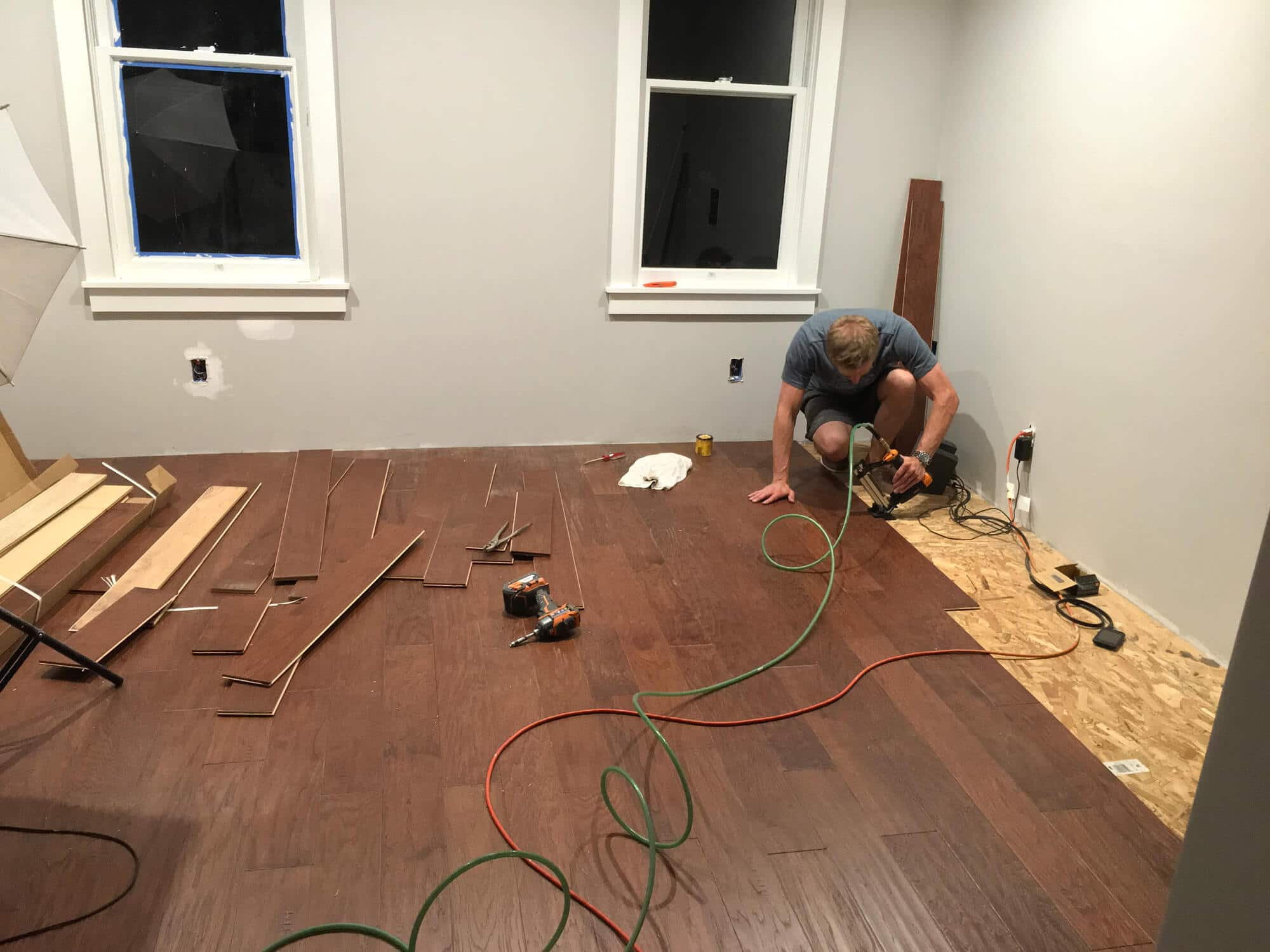 installing 3 4 inch engineered hardwood flooring of the micro dwelling project part 5 flooring the daring gourmet within our final step was installing the baseboards we wanted to have a contemporary yet classic look so we went with fairly tall 5 inch baseboards which nicely