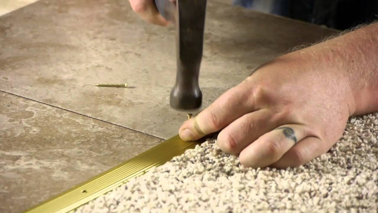 installing hardwood floors youtube of how to install a transition strip from carpet to ceramic tile youtube inside youtube premium