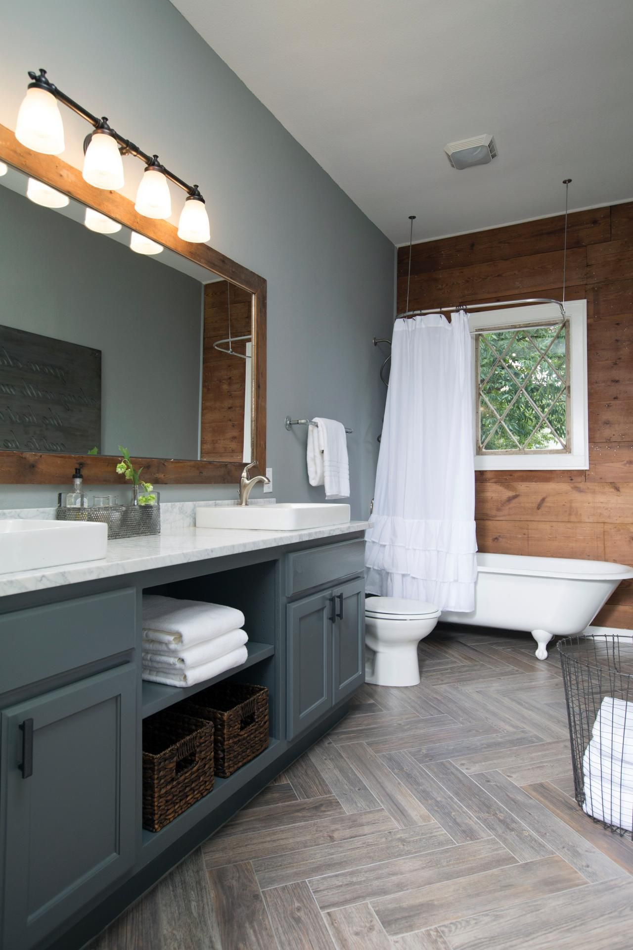 joanna gaines hardwood floor colors of decorating with shiplap ideas from hgtvs fixer upper around the throughout chip and joanna gaines decked out this master bathroom with new gray paint and a shiplap accent wall