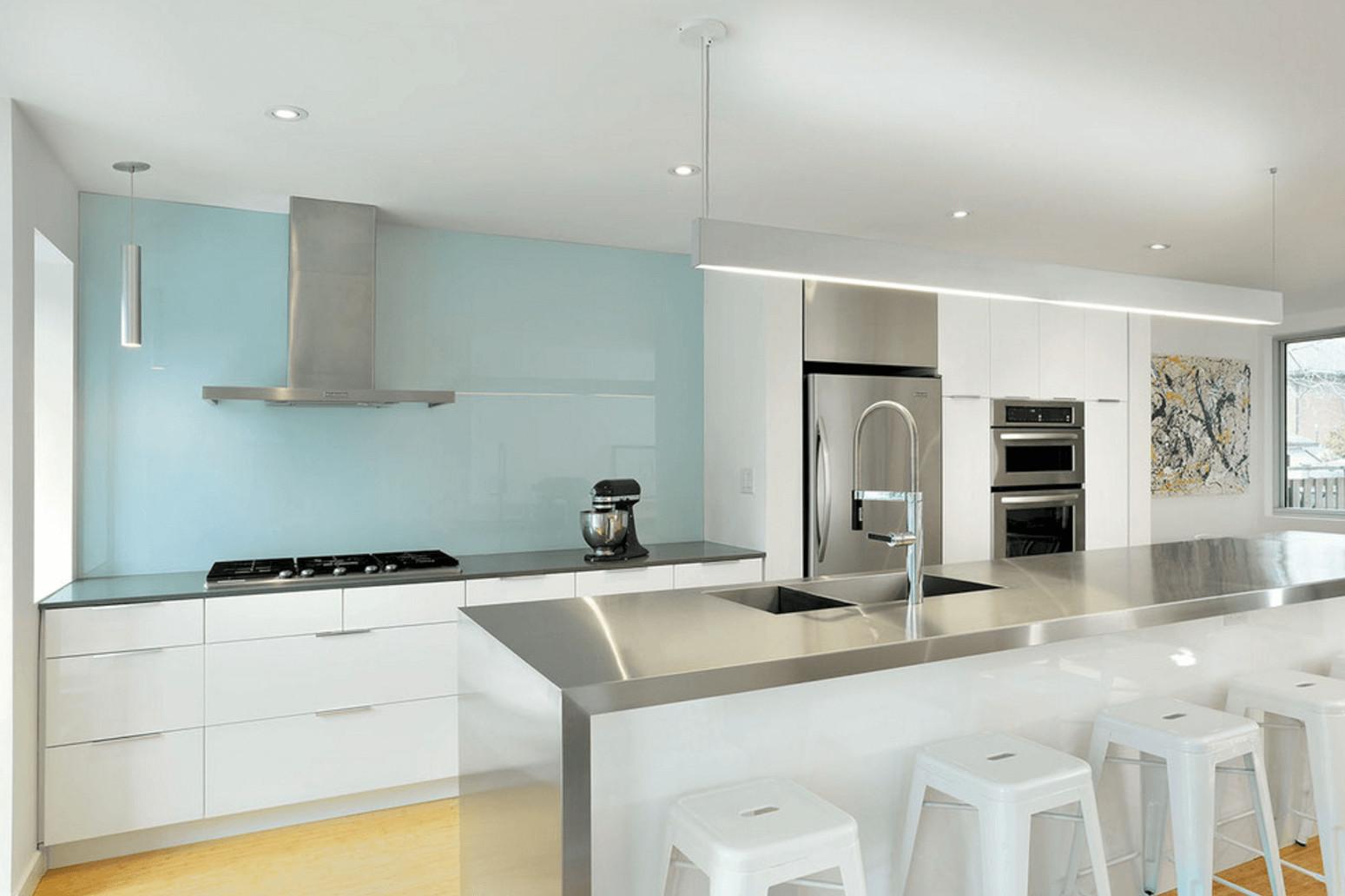 kitchens with grey hardwood floors of 5 ways to redo kitchen backsplash without tearing it out within light blue painted backsplash
