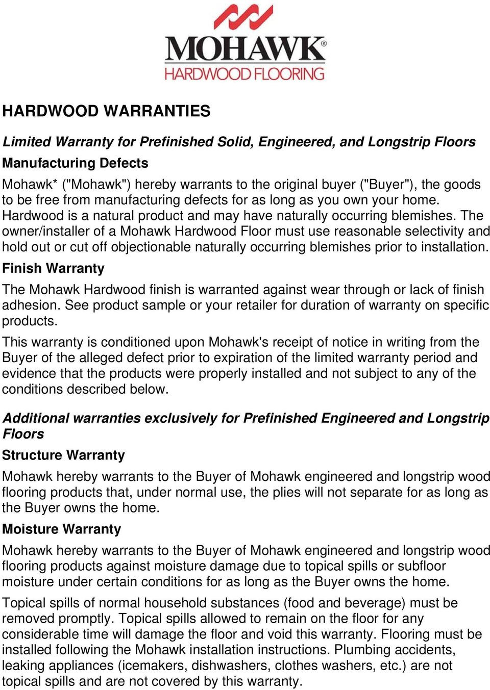 mohawk hardwood flooring distributors of hardwood warranties limited warranty for prefinished solid with regard to the owner installer of a mohawk hardwood floor must use reasonable selectivity and hold out
