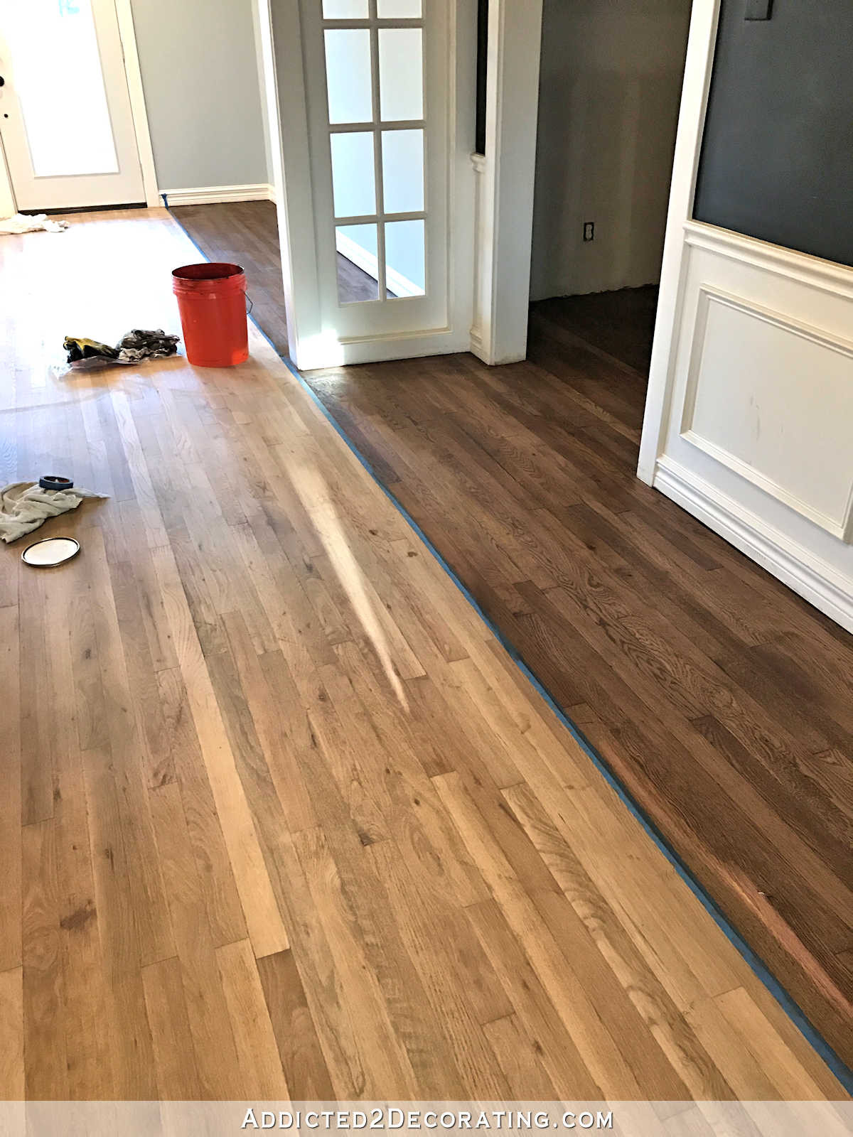 multi colored hardwood floors of adventures in staining my red oak hardwood floors products process with staining red oak hardwood floors 6 stain on partial floor in entryway and music