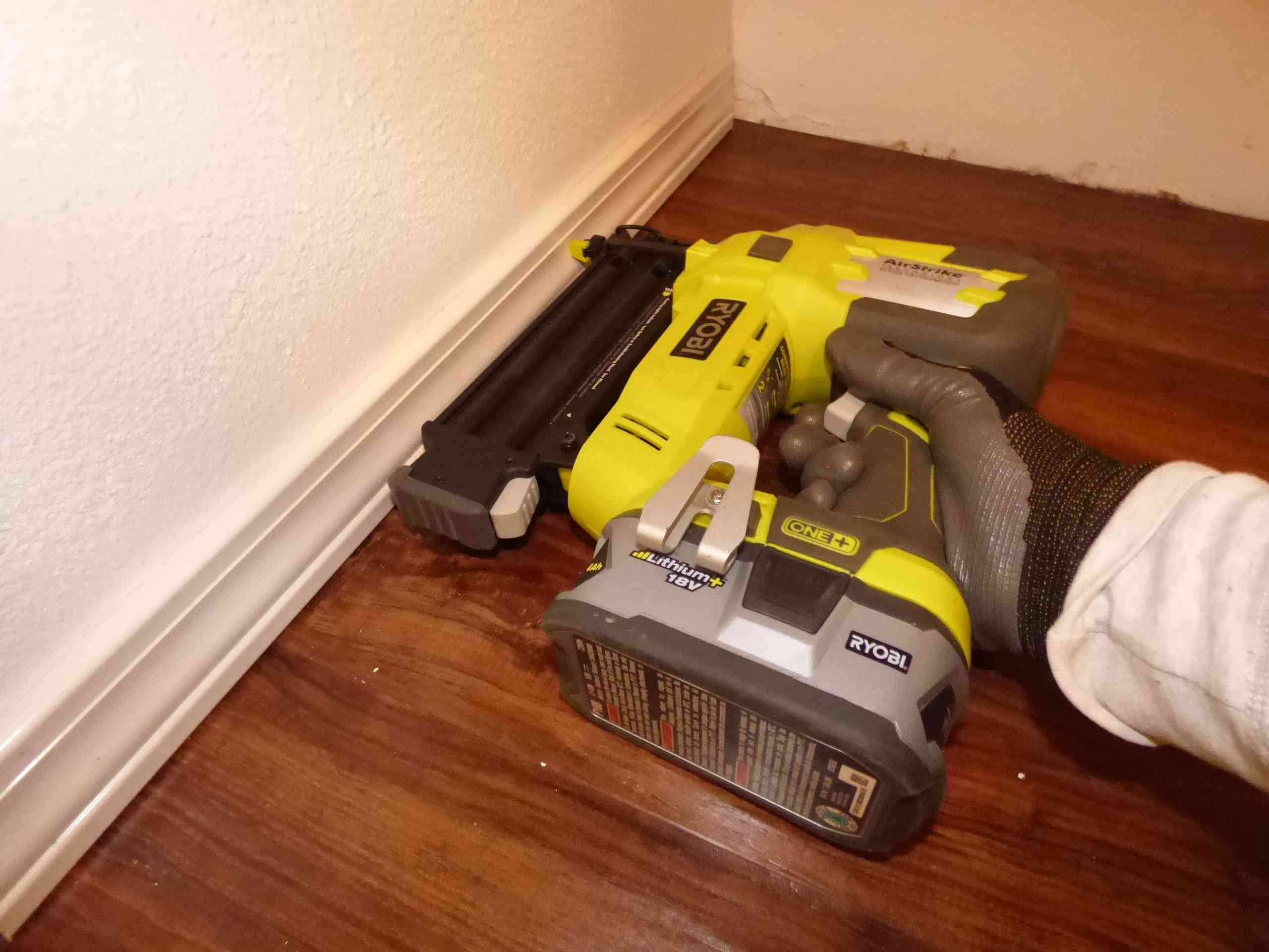 nail gun for hardwood floor installation of its easy and fast to install plank vinyl flooring inside re install baseboards and trim 56a4a0543df78cf7728350ac jpg