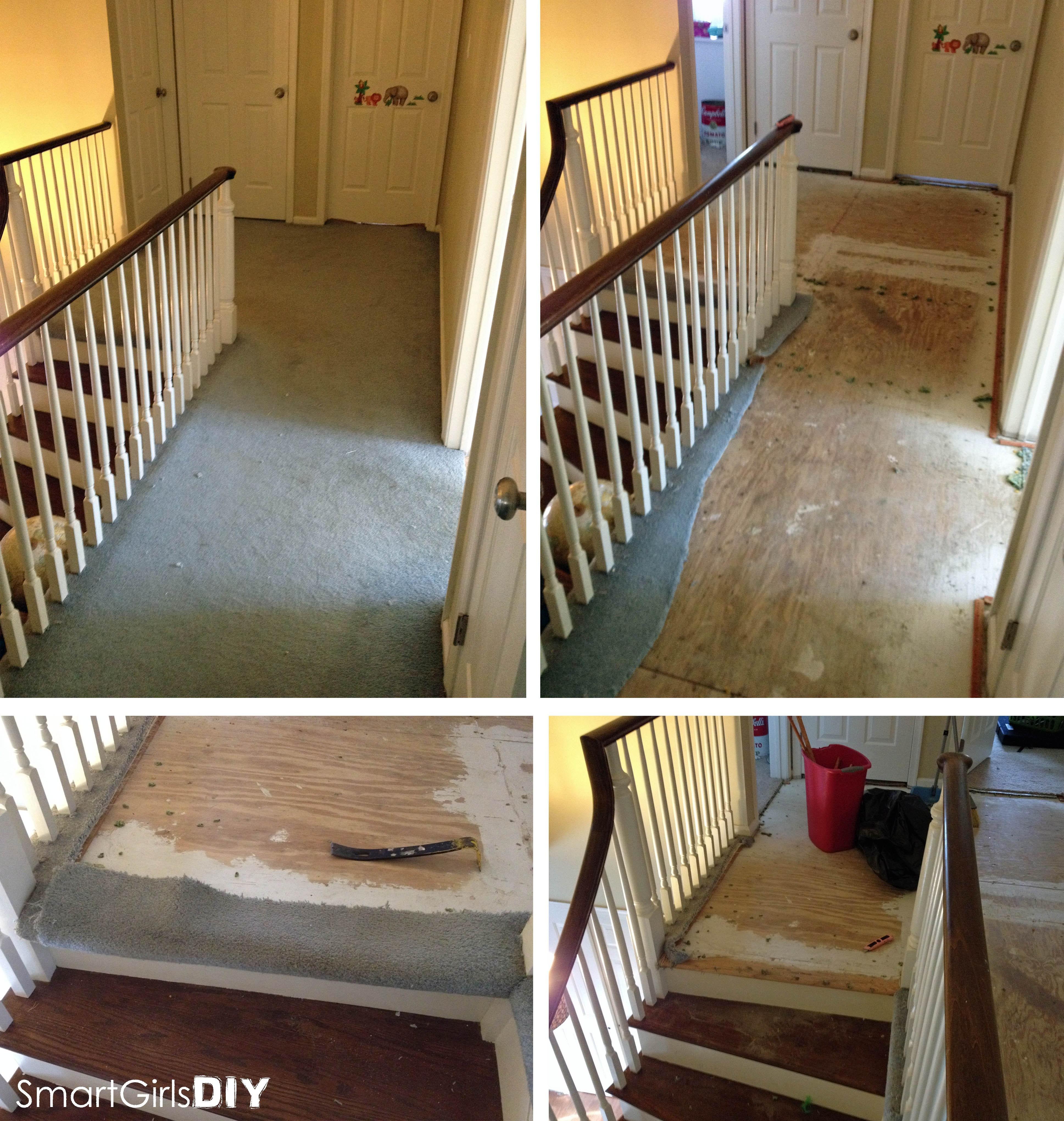 Old Hardwood Floors Under Carpet Of Upstairs Hallway 1 Installing Hardwood Floors Pertaining to Removing Carpet From Hallway Installing the Hardwood Floor