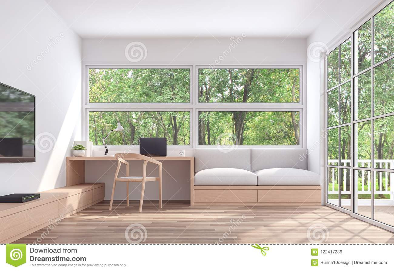pictures of living rooms with hardwood floors of modern living room and working corner with nature view 3d render intended for modern living room and working corner with nature view 3d render the room has wooden floor and white wall furnished with wood furniture