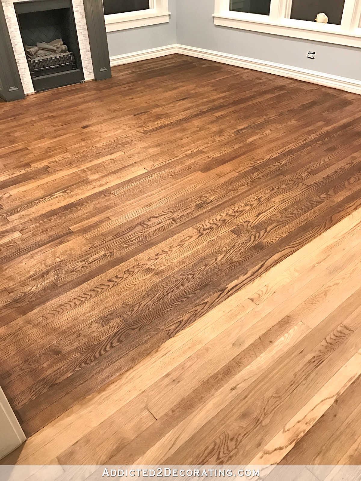 polyurethane finish hardwood floors of adventures in staining my red oak hardwood floors products process with regard to staining red oak hardwood floors 7 stain on the living room floor