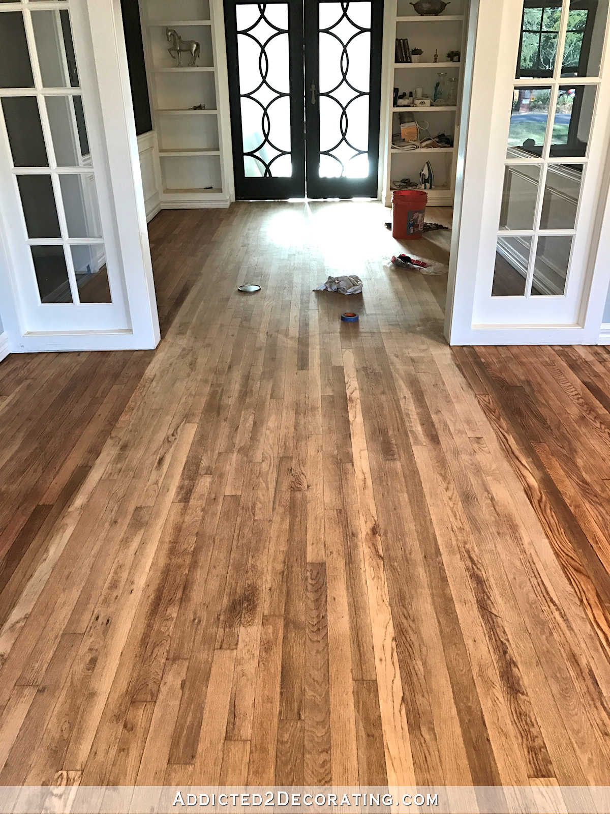 refinish hardwood floors in one day of adventures in staining my red oak hardwood floors products process in staining red oak hardwood floors 5 music room wood conditioner