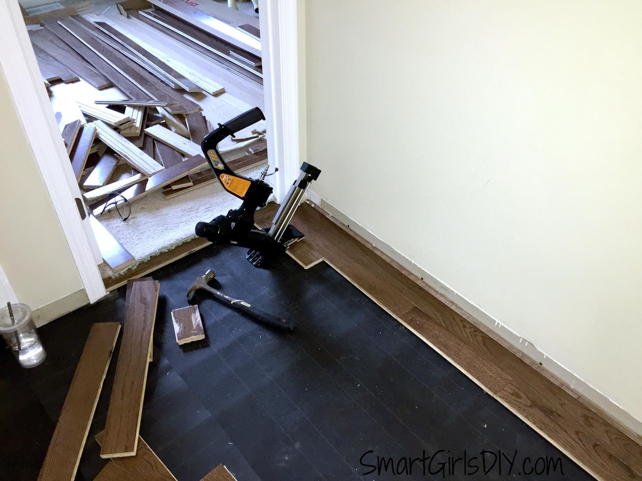 roofing felt hardwood floor underlayment of upstairs hallway 1 installing hardwood floors inside third row of hardwood can now use the floor nailer
