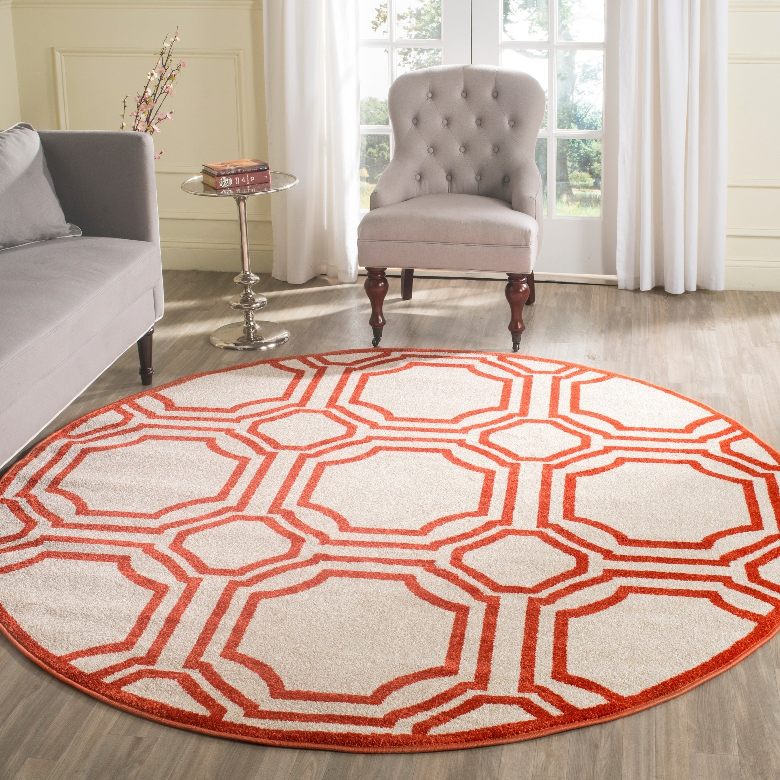 Rug Types for Hardwood Floors Of Shop Safavieh Amherst Indoor Outdoor Ivory orange Rug 7 Round Intended for Shop Safavieh Amherst Indoor Outdoor Ivory orange Rug 7 Round On Sale Free Shipping today Overstock Com 8891573