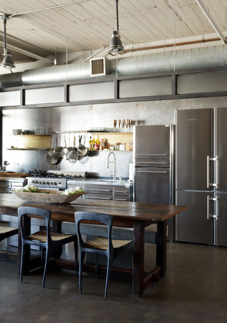 ss hardwood floor supply los angeles ca of steel and brass cover nearly every surface of this industrial l a regarding modern los angeles loft kitchen renovation with stainless steel cabinets by fagor henry hall designs chairs cb2 benches and farm table