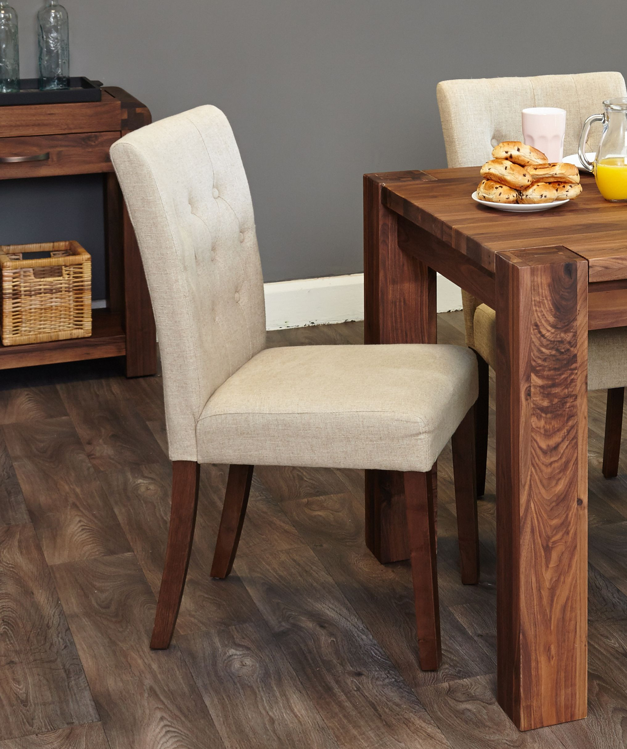 standard hardwood flooring sizes of a set of two elegant upholstered dining chairs in biscuit shade in a set of two elegant upholstered dining chairs in biscuit shade constructed using a solid hardwood frame and walnut legs upholstered in a luxurious