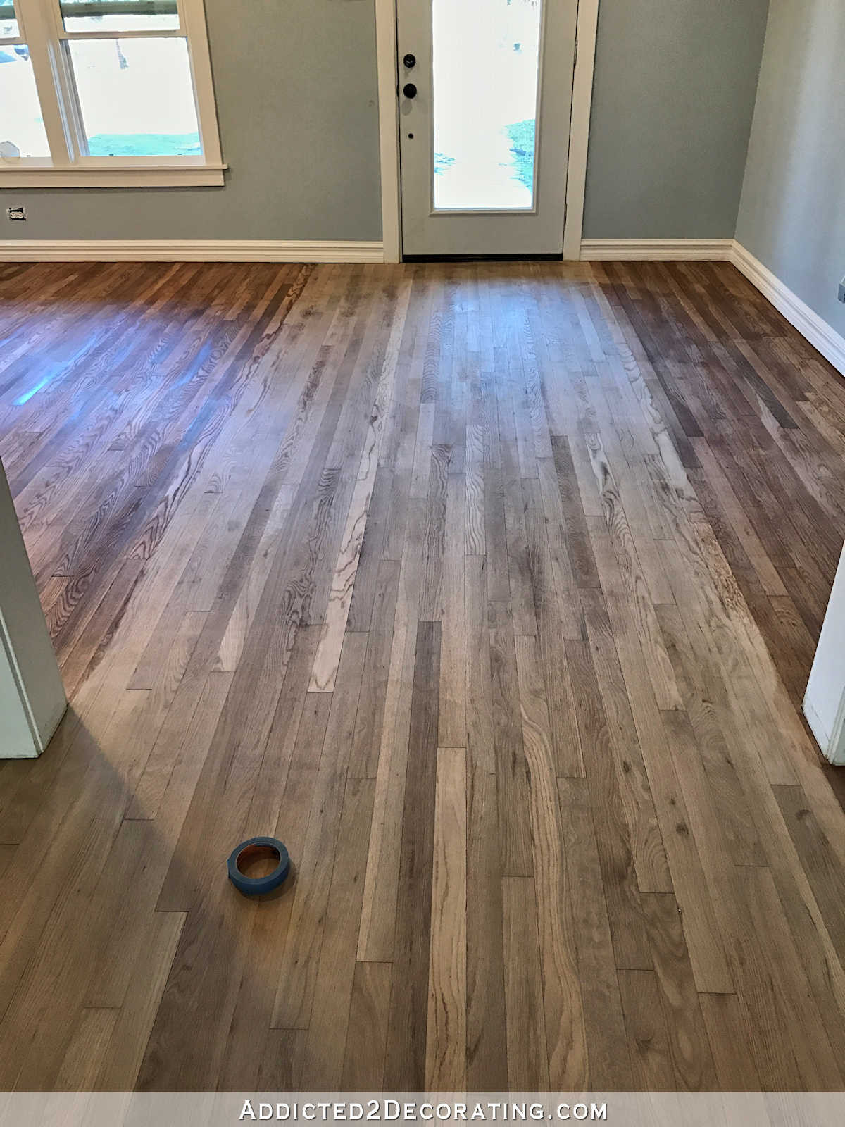 two different color hardwood floors of adventures in staining my red oak hardwood floors products process in staining red oak hardwood floors 4 entryway and living room wood conditioner