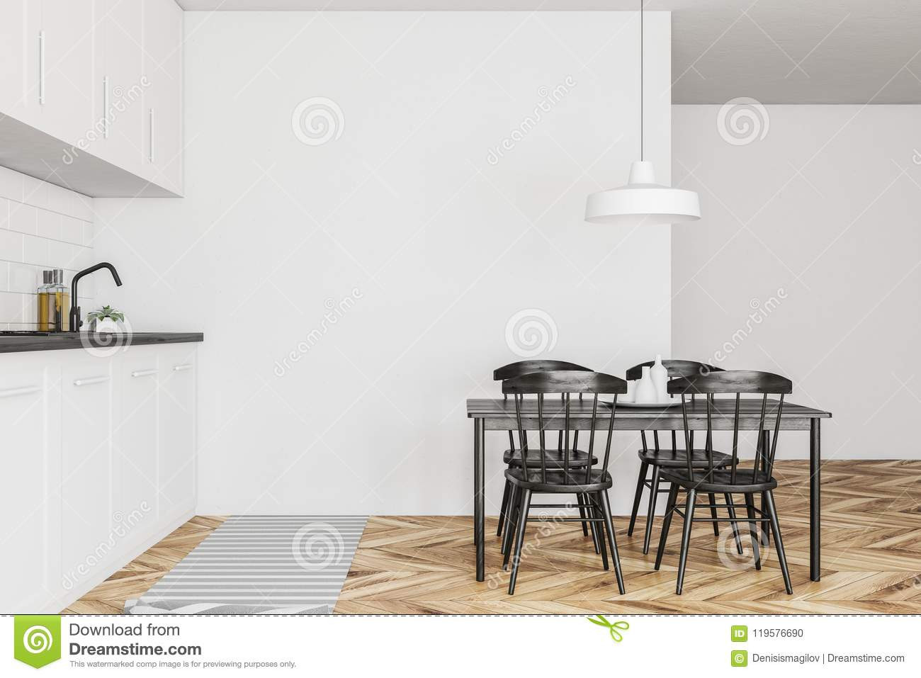 using hardwood flooring on walls of white kitchen interior black table wood stock illustration pertaining to side view of a scandinavian style kitchen with white walls a wooden floor white countertops and cabinets and a table with black chairs