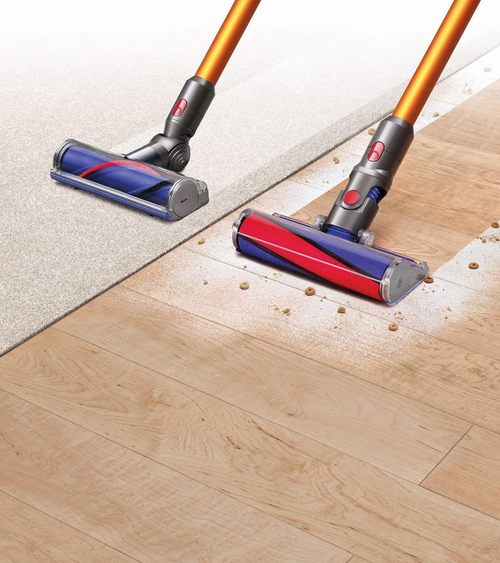 "vacuum broom for hardwood floors of dyson v8a""¢ dyson in dyson v8a""¢ vacuums on carpet and hard flooring"