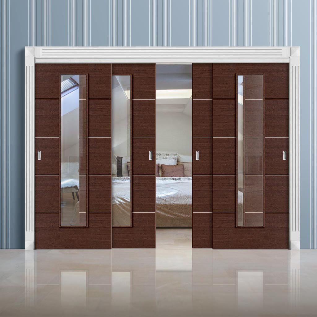 Wenge Hardwood Flooring for Sale Of Thruslide Eco Colour Wenge Flush 4 Sliding Doors and Frame Kit Clear Pertaining to Thruslide Eco Colour Wenge Flush 4 Sliding Doors and Frame Kit Clear Glass Prefinished